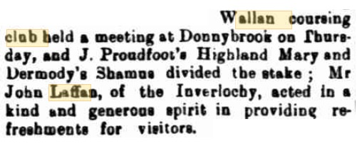 Wallan Coursing Club Meeting. Kilmore Free Press - August 2nd, 1883