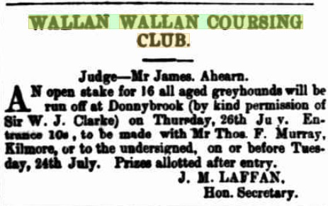 Wallan Coursing Club Meeting. Kilmore Free Press - July 19th, 1883