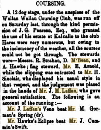Wallan Coursing Club Meeting. Kilmore Free Press - May 20th, 1880