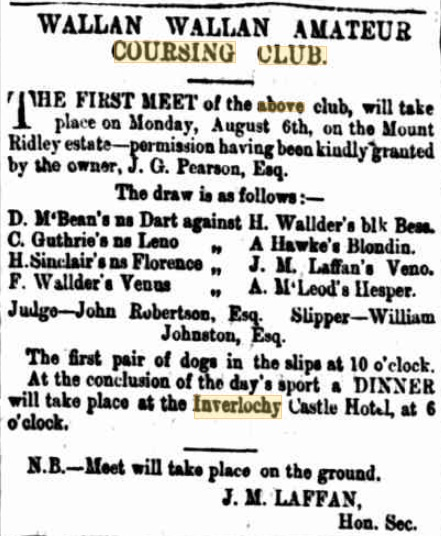 Wallan Coursing Club Meeting. Kilmore Free Press - July 30th, 1877