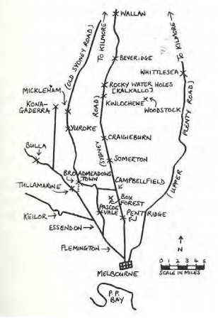 Various routes north from Melbourne in the 1850s. (Lemon, Broadmeadows et al.1982).