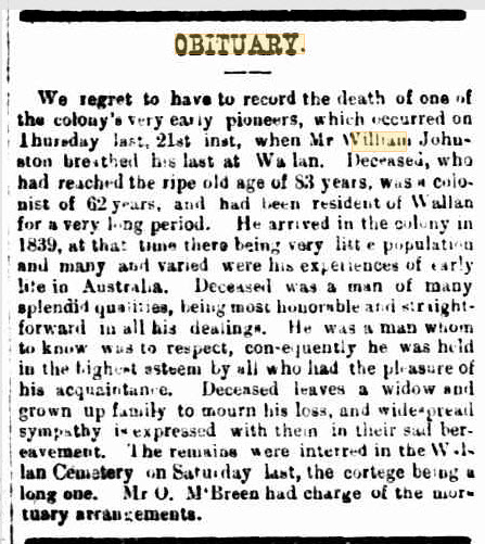 Obituary for William Johnston, Wallan, in the Kilmore Free Press, 28 March 1901