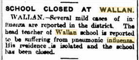 Closure of Wallan State School due to pneumonic influenza