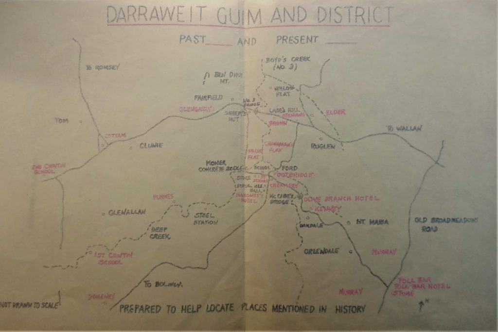 Map sourced from Centenary of Darraweit Guim State School no. 878, 1867-1967 : a brief history of the School and district detailing many of the locations mentioned in this article