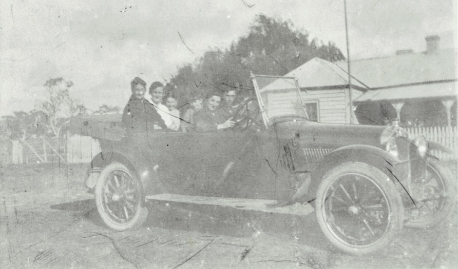 Margaret with children in the car