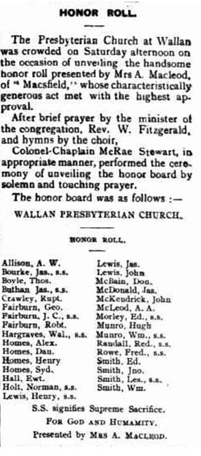 Honor Roll - Kilmore Free Press - May 27th, 1920