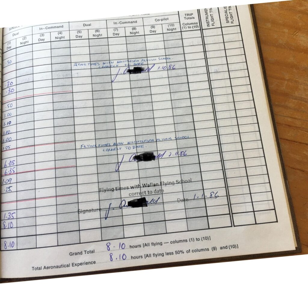 Flight Log Book of former student - showing the change from Whittlesea Flying School to Wallan Flying School